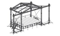 Сценический комплекс с замкнутым коньком 9,6 х 7,2 м, с электрической лебедкой - фото 25962