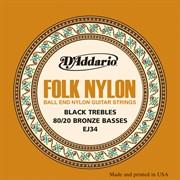 D'Addario EJ34 Folk Nylon струны нейлоновые, шарики на концах
