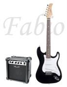 Fabio ST100BK + Leem S10G — комплект электрогитара и комбоусилитель 10 Вт, Фабио