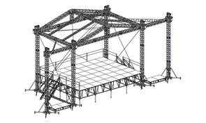 Сценический комплекс с замкнутым коньком 9,6 х 7,2 м, с электрической лебедкой