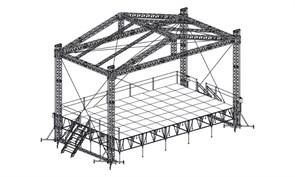 Сценический комплекс с замкнутым коньком 12 х 7,2 м, с ручной талью.