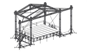 Сценический комплекс с замкнутым коньком 9,6 х 7,2 м, с электрической лебедкой и звуковыми порталами.