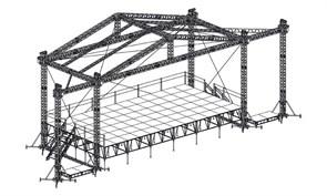 Сценический комплекс с замкнутым коньком 14,4 х 7,2 м, с электрической лебедкой и звуковыми порталами.
